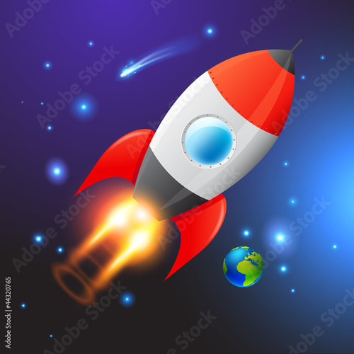 Foto Spatwand Kosmos Vector Space Rocket