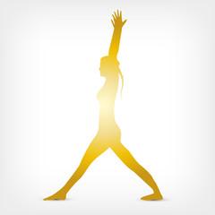 Virabhadrasana Eins mit gestreckten Beinen Gold