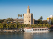 view of Golden Tower (Torre del Oro) of Seville, Spain over rive