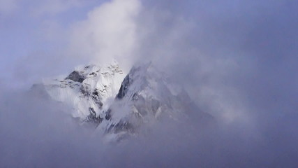 Fast moving clouds in Himalayas Nepal