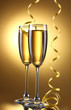 glasses of champagne and streamer on yellow background
