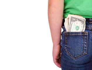 Child with money in pocket