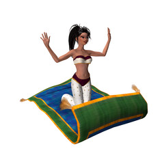 Beautiful 3D girl on magic flying carpet