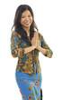 Asian woman gestures welcoming