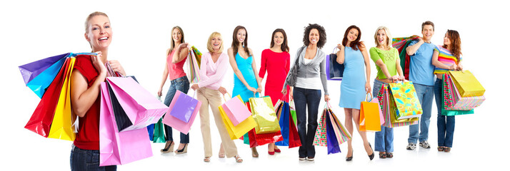 Group of beautiful shopping woman.