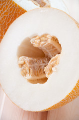 Vertical shot of a halved melon, close-up