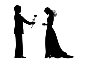 Young man giving a rose to beautiful girl,vector file