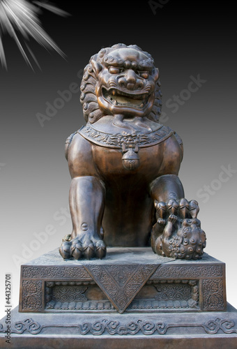Chinese bronze lion statue