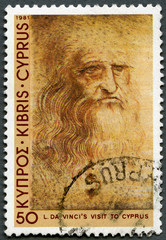 CYPRUS - 1981: shows Self-portrait, by Leonardo Da Vinci