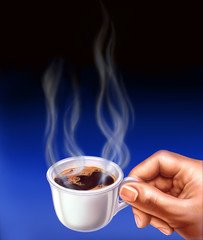 Espresso cup, held by a man hand. Close up airbrush illustration