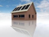 sustainable brick house with solar pannels on roof poster