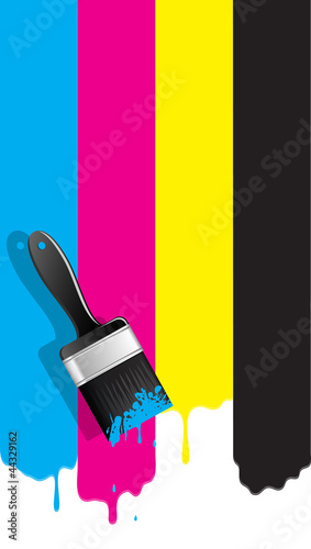 Brush with cmyk paint. Vector illustration.