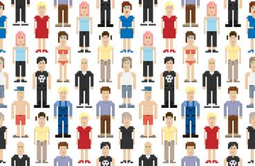 Set of pixel people. Vector illustration.