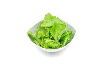 Fresh salad bowl, white background