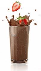 Strawberries splashing into a chocolate milkshake glass.