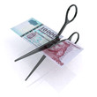 scissors cutting HUF forint