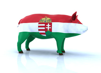 hungarian pig with flag