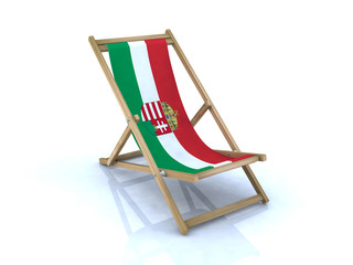 wood beach chair with hungarian flag