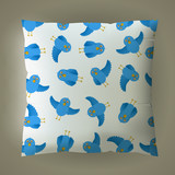 vector pillow with blue bird pattern