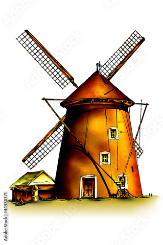 retro-illustrationskunstweinlese-des-windmuhlenwinds