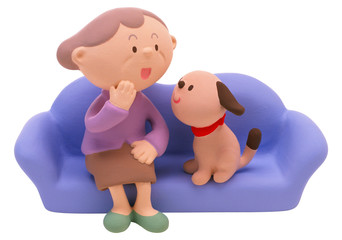 grandmother and dog on a sofa