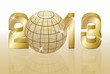 Golden New 2013 year with globe