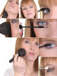 Montage of a woman applying makeup