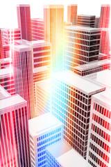 Edificios de oficinas iluminados, en la ciudad
