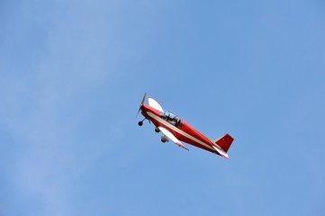 Red Airplane in the blue sky