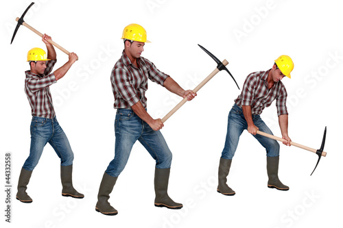 Multiple image of man with pick-ax