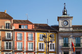 Town Hall Clock in Plaza Mayor (Mayor Square) of Burgos, Spain