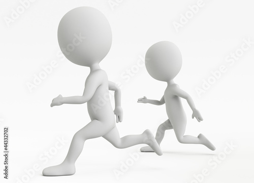 Two humanoid character running