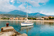 Yacht moored along Coast of Peloponnese Peninsula in Greece