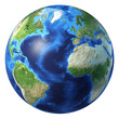 Earth globe, realistic 3 D rendering. Atlantic ocean view.