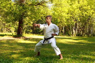 The man practicing karate in the park