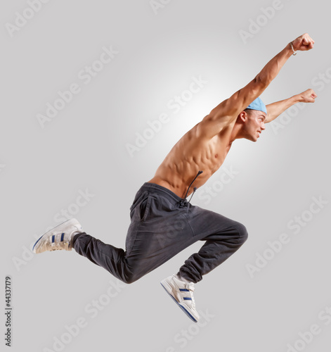 young man dancing hip hop - 44337179