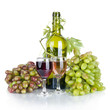 bottle, two glass of wine and ripe grapes isolated on white back