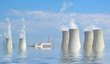 Flooded nuclear power plant. Ecological catastrophe concept.