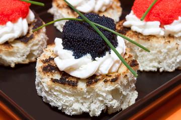Macro Of Caviar Canapés