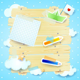 Fantasy background with paper elements