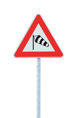 Sudden side cross winds ahead road sign isolated traffic signage