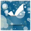 White tick applique on blue christmas background with snowflakes