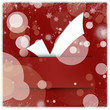 White tick applique on red christmas background with snowflakes