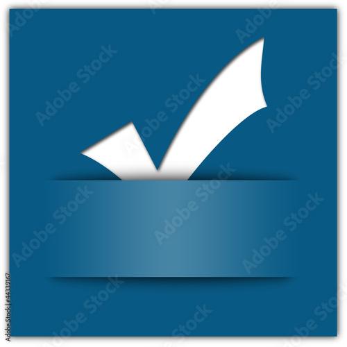 White tick applique on blue background