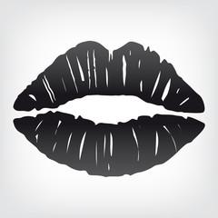 Lippenabdruck schwarz