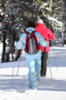 Middle-aged couple cross-country skiing