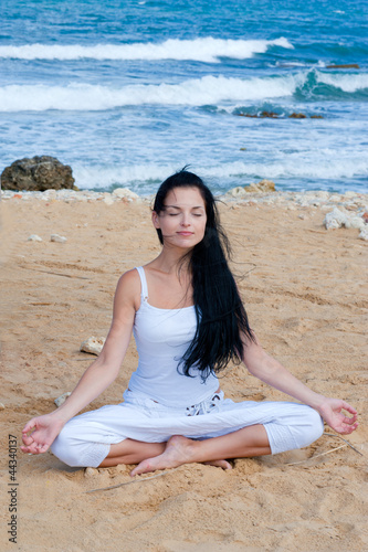 attractive brunette woman in yoga poseattractive brunette woman