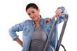 craftswoman painter on a ladder