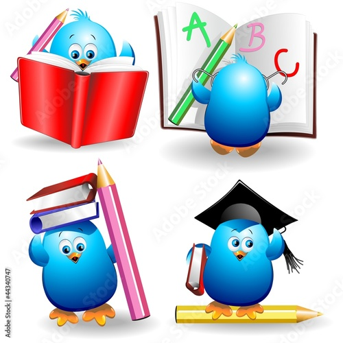 Blue Chick Cartoon Back to School with pencils and Notebook