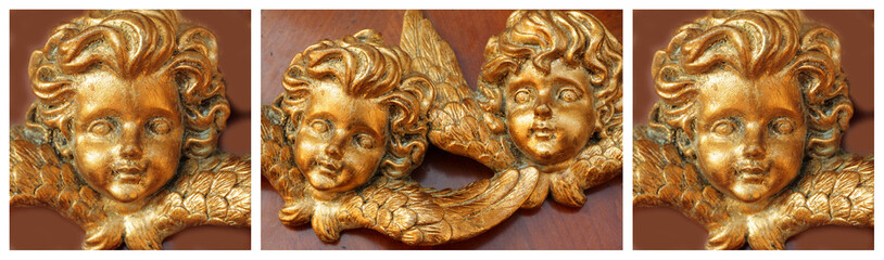 christmas card made of antique golden angels images